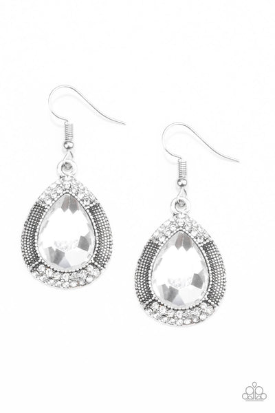 SOLD OUT Paparazzi Grandmaster Shimmer Earrings - White - Princess Glam Shop