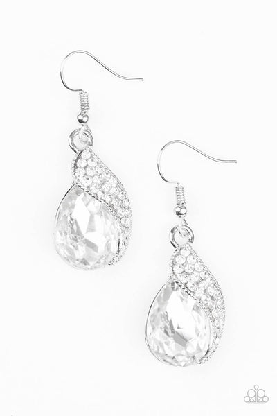 Paparazzi Easy Elegance - White Teardrop Earrings - Princess Glam Shop