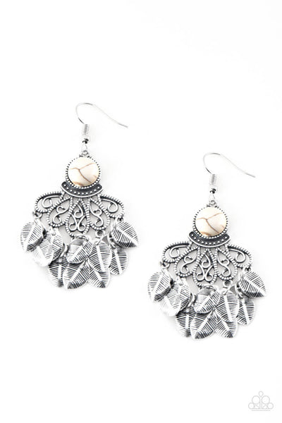 Paparazzi A Bit On The Wildside - White Stone Earrings - Princess Glam Shop