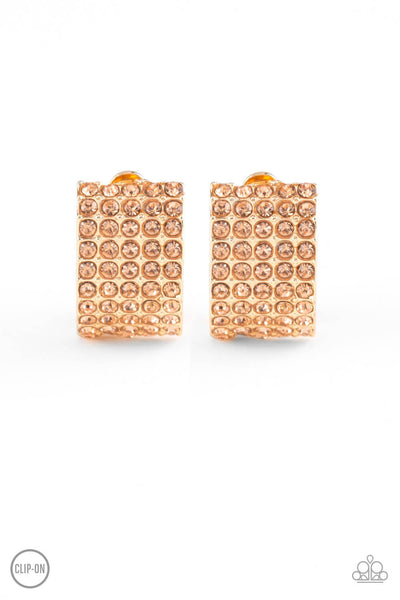 Paparazzi Hollywood Hotshot - Gold Clip-On Earrings - Princess Glam Shop