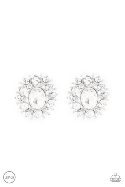 Paparazzi Serious Star Power - White Clip-on Earrings - Princess Glam Shop