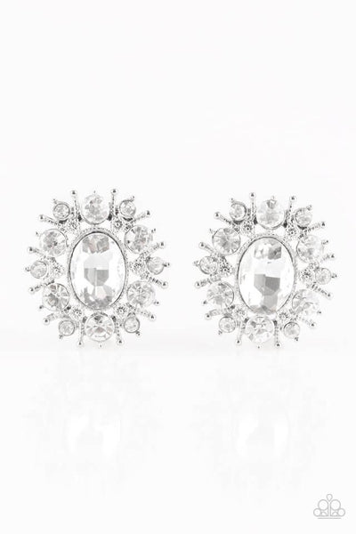 Paparazzi Serious Star Power - White Post Earrings - Princess Glam Shop