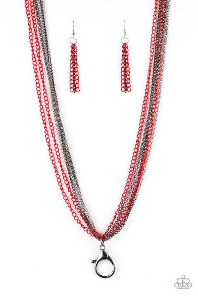 Paparazzi Colorful Calamity - Red Lanyard Set - Princess Glam Shop