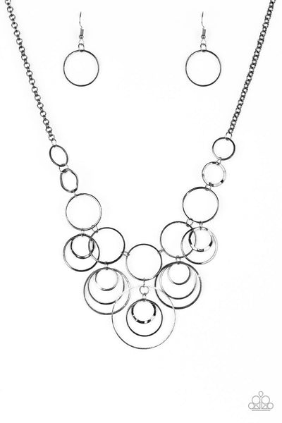 Paparazzi Break The Cycle - Black Circle Necklace Set - Princess Glam Shop