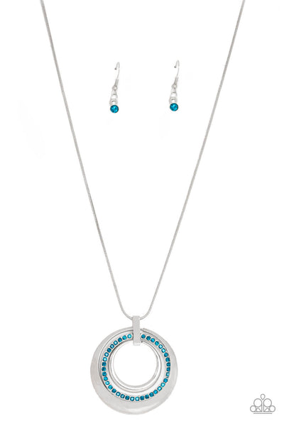 Paparazzi Gather Around Gorgeous - Blue Hoop Necklace Set - Princess Glam Shop