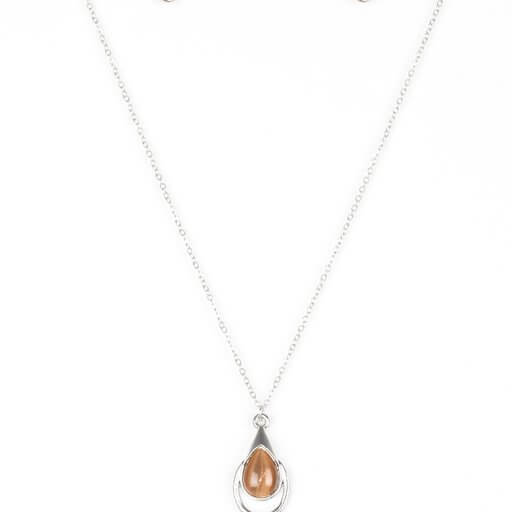 Paparazzi Just Drop It! - Brown Moonstone Necklace Set - Princess Glam Shop