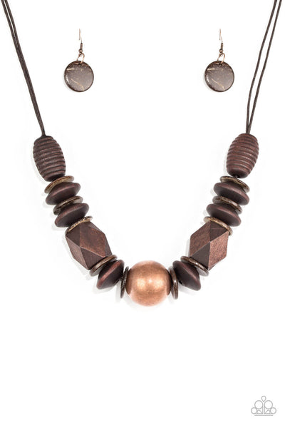 Paparazzi Grand Turks Getaway - Copper & Brown Wood Necklace Set - Princess Glam Shop