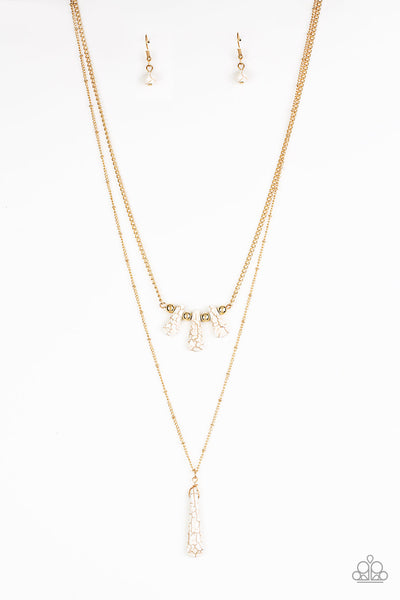 Paparazzi Basic Groundwork - Gold & White Stone Necklace Set - Princess Glam Shop