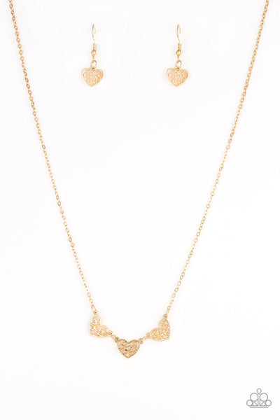 Paparazzi Another Love Story - Gold Heart Necklace Set - Princess Glam Shop