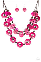 Paparazzi Catalina Coastin - Pink Wood Necklace Set - Princess Glam Shop