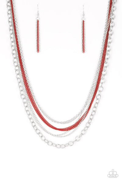 Paparazzi Intensely Industrial - Red Necklace Set - Princess Glam Shop