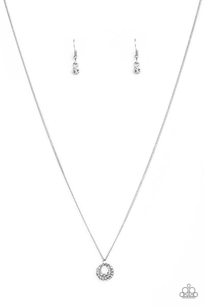 Paparazzi One Small Step For GLAM - White Rhinestone Necklace Set - Princess Glam Shop
