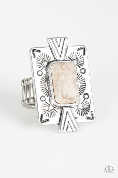 Paparazzi So Smithsonian - White Stone Ring - Princess Glam Shop