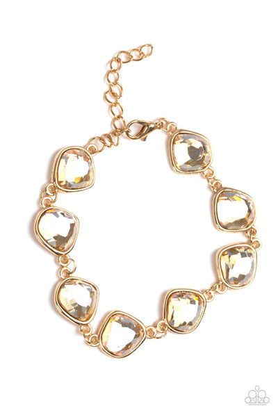 Paparazzi Perfect Imperfection Gold Gem Bracelet - Princess Glam Shop
