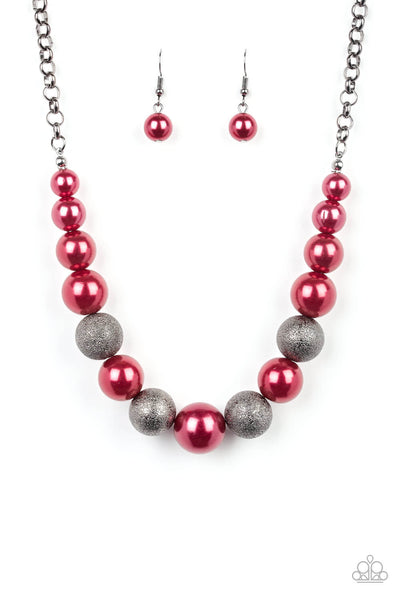 Paparazzi Color Me CEO - Red Necklace Set & Bracelet Combo - Princess Glam Shop