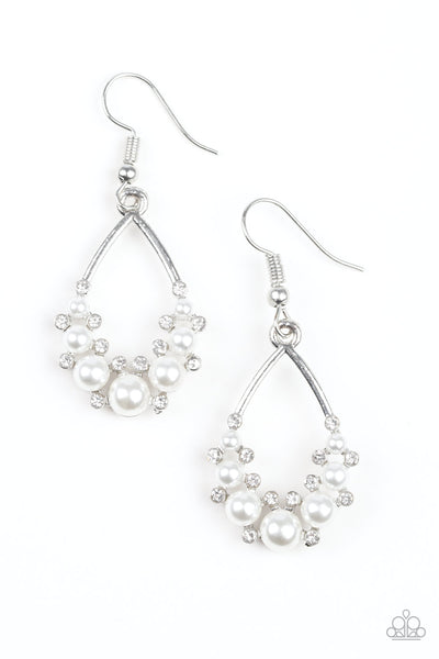 Paparazzi Fancy First - White Earrings - Princess Glam Shop