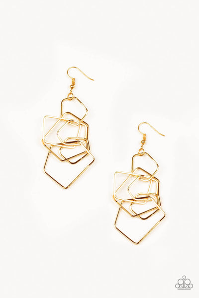 Paparazzi Five-Sided Fabulous - Gold Pentagon Earrings - Princess Glam Shop