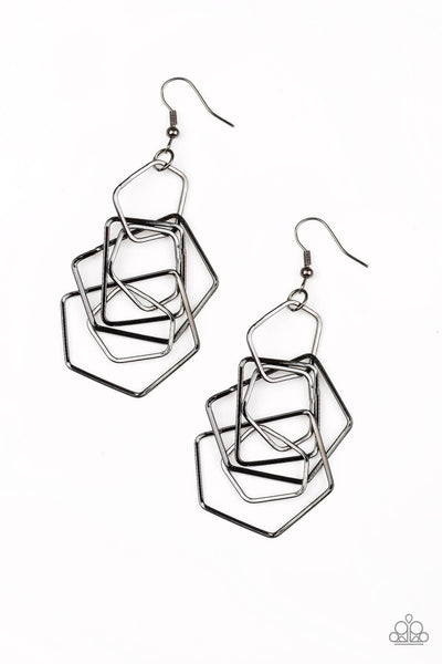 SOLD OUT Paparazzi Five-Sided Fabulous - Black Pentagon Earrings - Princess Glam Shop