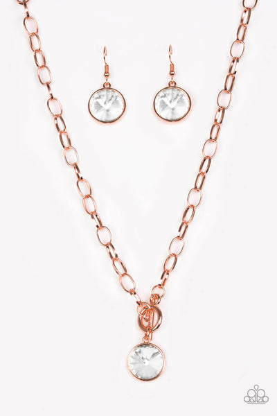 Paparazzi She Sparkles On - Copper & Bling Necklace & Bracelet Combo - Princess Glam Shop
