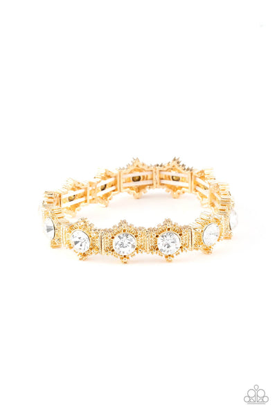 Paparazzi Strut Your Stuff Stretch Gem Bracelet - Gold - Princess Glam Shop