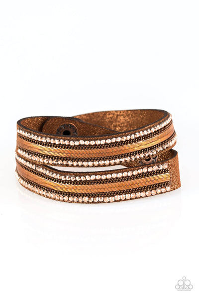 Paparazzi Rocker Rivalry - Copper Double Wrap Bracelet - Princess Glam Shop