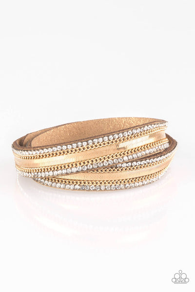 Paparazzi Rocker Rivalry - Gold Double Wrap Bracelet - Princess Glam Shop