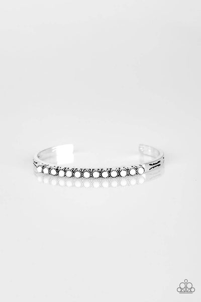 Paparazzi New Age Traveler - White Cuff Bracelet - Princess Glam Shop