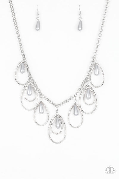 Paparazzi Rustic Ritz - Silver Pearl Necklace Set - Princess Glam Shop