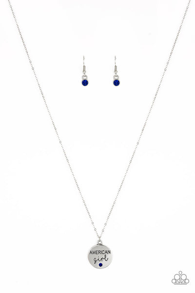 Paparazzi American Girl - Blue Rhinestone Necklace Set - Princess Glam Shop