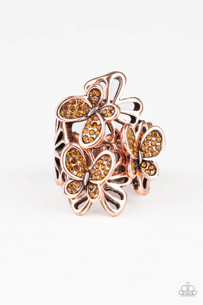 Paparazzi Flighty Flutter - Copper Ring - Princess Glam Shop
