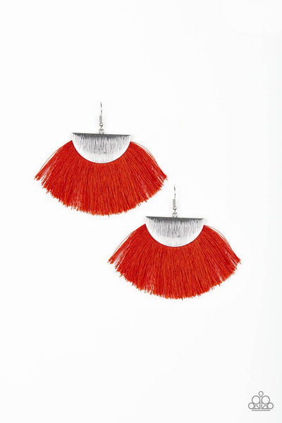Paparazzi Fox Trap - Fabric Fringe Earrings - PrincessGlamShop