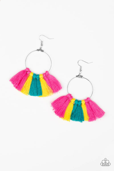Paparazzi Peruvian Princess - Multi Colored Fringe Hoop Earrings - PrincessGlamShop