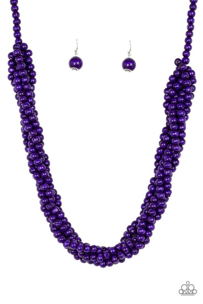 Paparazzi Tahiti Tropic - Purple Wood Braided Beaded Necklace Set - Princess Glam Shop