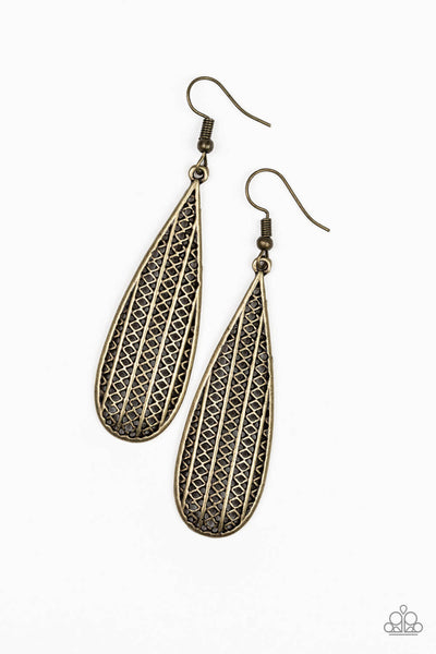 Paparazzi Terra Tears - Brass Teardrop Earrings - Princess Glam Shop