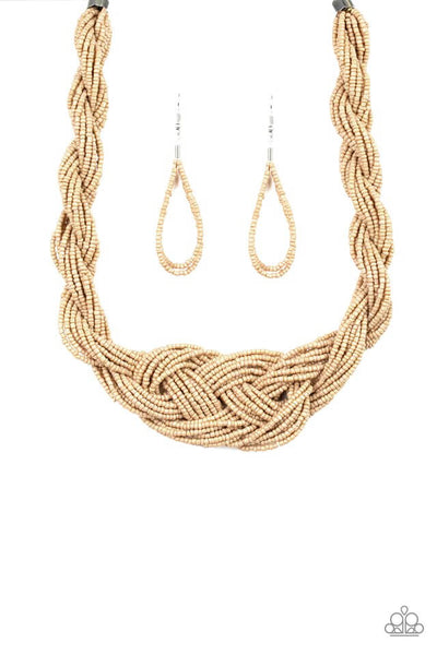 SOLD OUT Paparazzi A Standing Ovation Brown Braided Seed Bead Necklace Set - Princess Glam Shop