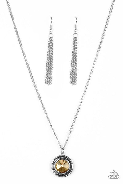 Paparazzi Mega Money - Brown Topaz - Silver Necklace Set - Princess Glam Shop
