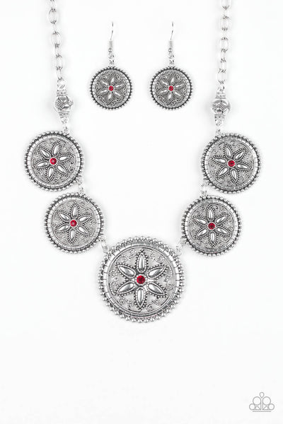 Paparazzi Written In The STAR LILIES - Red Necklace Set - Princess Glam Shop