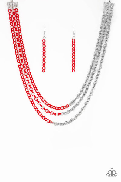 Paparazzi Turn Up The Volume - Red Necklace Set - Princess Glam Shop