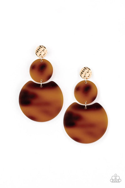 Paparazzi Miami Mariner - Gold Acrylic Earrings - Princess Glam Shop