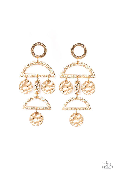Paparazzi Incan Eclipse Earrings - Gold - Princess Glam Shop