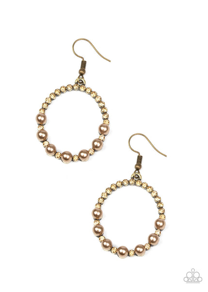 Paparazzi Glowing Grandeur - Brass Beads - Golden Topaz Rhinestones - Hoop Earrings - Princess Glam Shop
