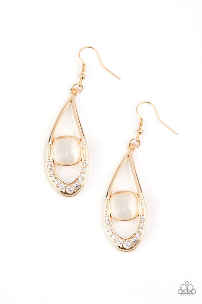 Paparazzi The Greatest GLOW On Earth - Gold Cat's Eye Earrings - Princess Glam Shop