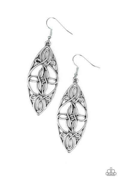 Paparazzi Tropical Trend - Silver Twisted Wire Earrings - Princess Glam Shop