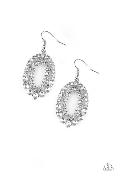 Paparazzi Trophy Shimmer - White Earrings - PrincessGlamShop
