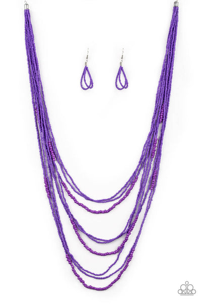 Paparazzi Totally Tonga Purple Seed Bead Cascade Necklace Set - Princess Glam Shop