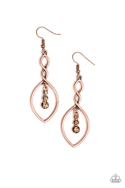 Paparazzi Timeless Twist - Copper Earrings - Princess Glam Shop