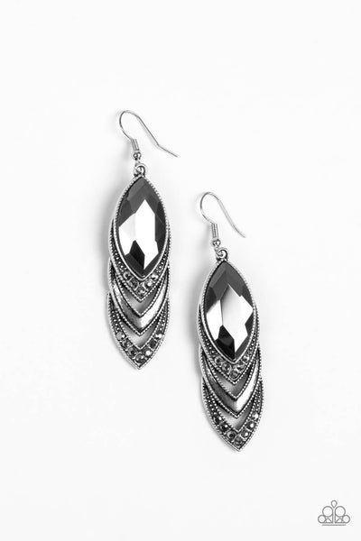 Paparazzi High-End Highness - Silver & Hematite Earrings - Princess Glam Shop