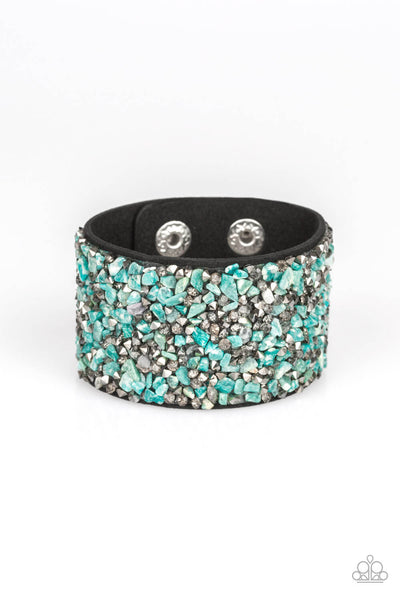 Paparazzi Crush Rush - Green Stone on Suede Adjustable Snap Bracelet - Princess Glam Shop