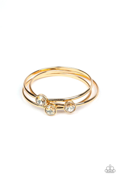 Paparazzi Be All You Can BEDAZZLE - Gold Bangle Bracelet Set - Princess Glam Shop