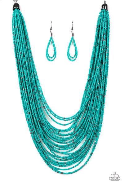 Paparazzi Rio Rainforest Blue Seed Bead Necklace Set - Princess Glam Shop